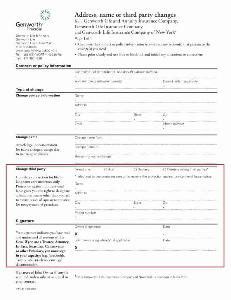 Genworth third party notification form